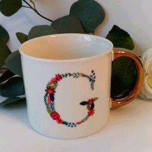 Opal House Initial letter G botanical mug